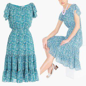 J. Crew Green Blue Floral Tiered Midi Dress